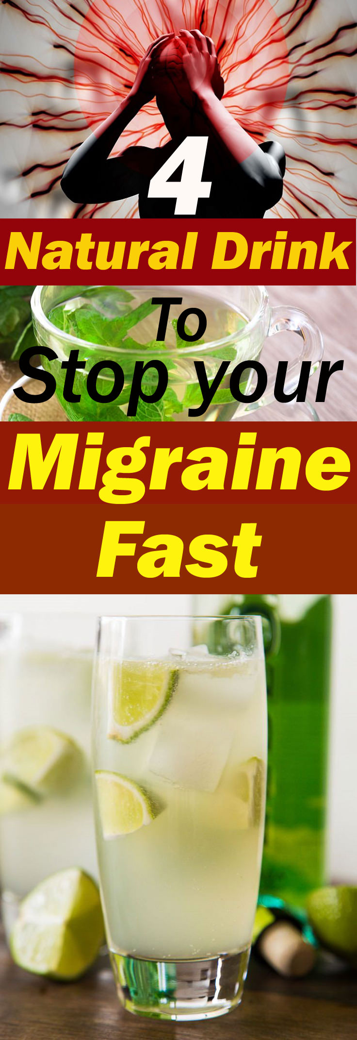 Suffering from a migraine or a headache? Give this a try-- 4 Natural drinks to stop your migraine fast. Check out!