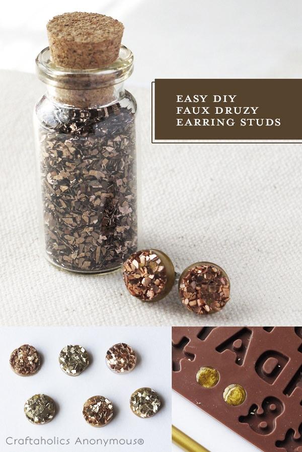 Easy DIY Druzy Stud Earrings