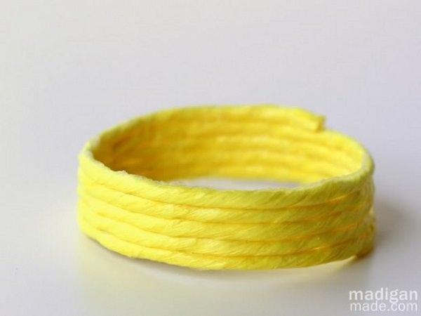 Neon Yellow Raffia Bracelet