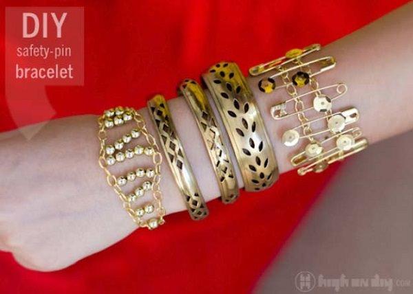 Safety Pin Sequin Bracelet