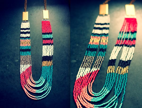 Tribal Multistrand Bead Necklace
