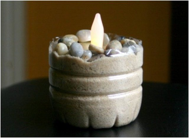 Water Bottle Candle Holder