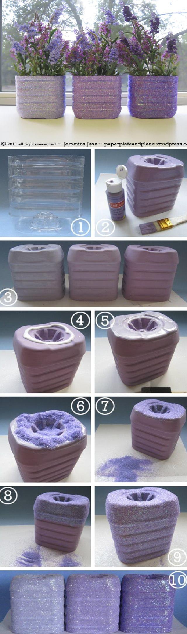 juice bottle glitter vases