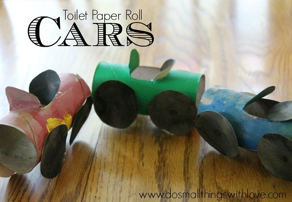 23. Toilet Paper Roll Cars