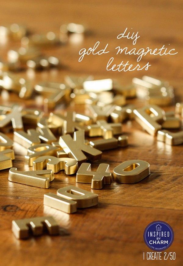 DIY Gold Magnetic Letters