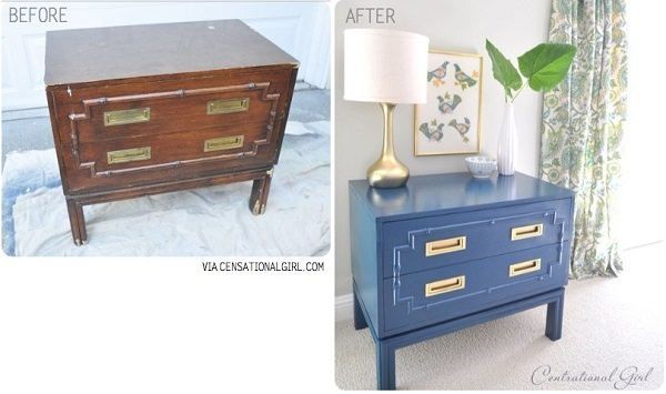 Peacock Blue Bamboo Chest