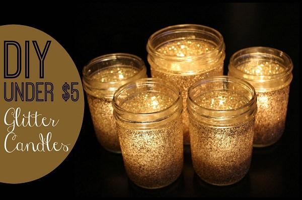 4. Festive Glitter Candles
