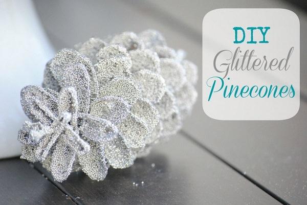 7. Glitter Pinecones
