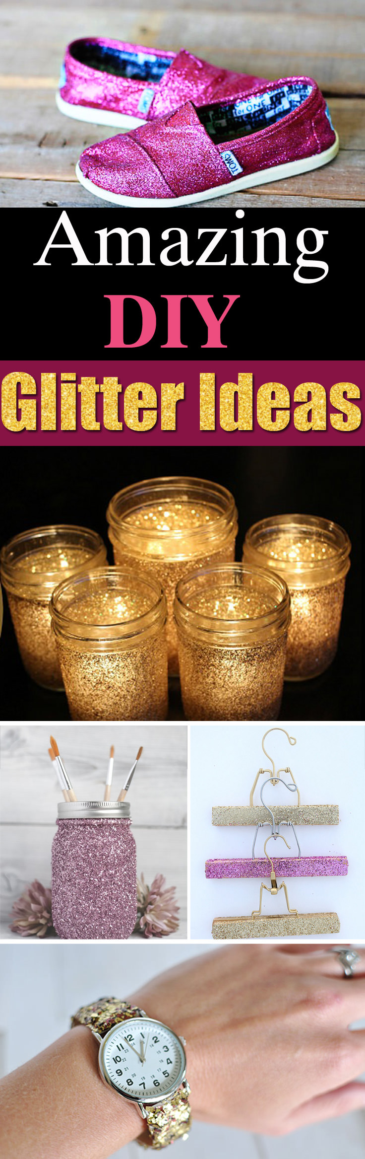 Add a touch of sparkle to your favorite items at home with these 25 Best DIY Glitter Ideas and Projects!