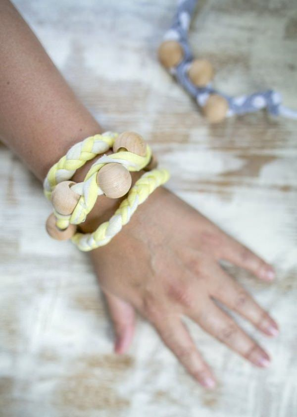 1. Wrap bracelet with wooden beads