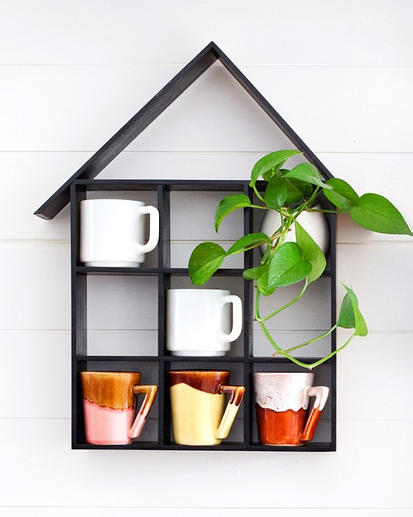 15. DIY House-shaped shelf1