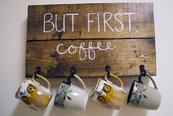 "21. ""But First, Coffee"" DIY Wooden Sign"