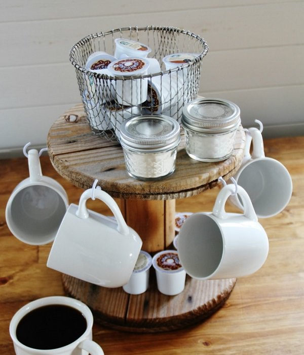 31. Wire Spool Mug Rack