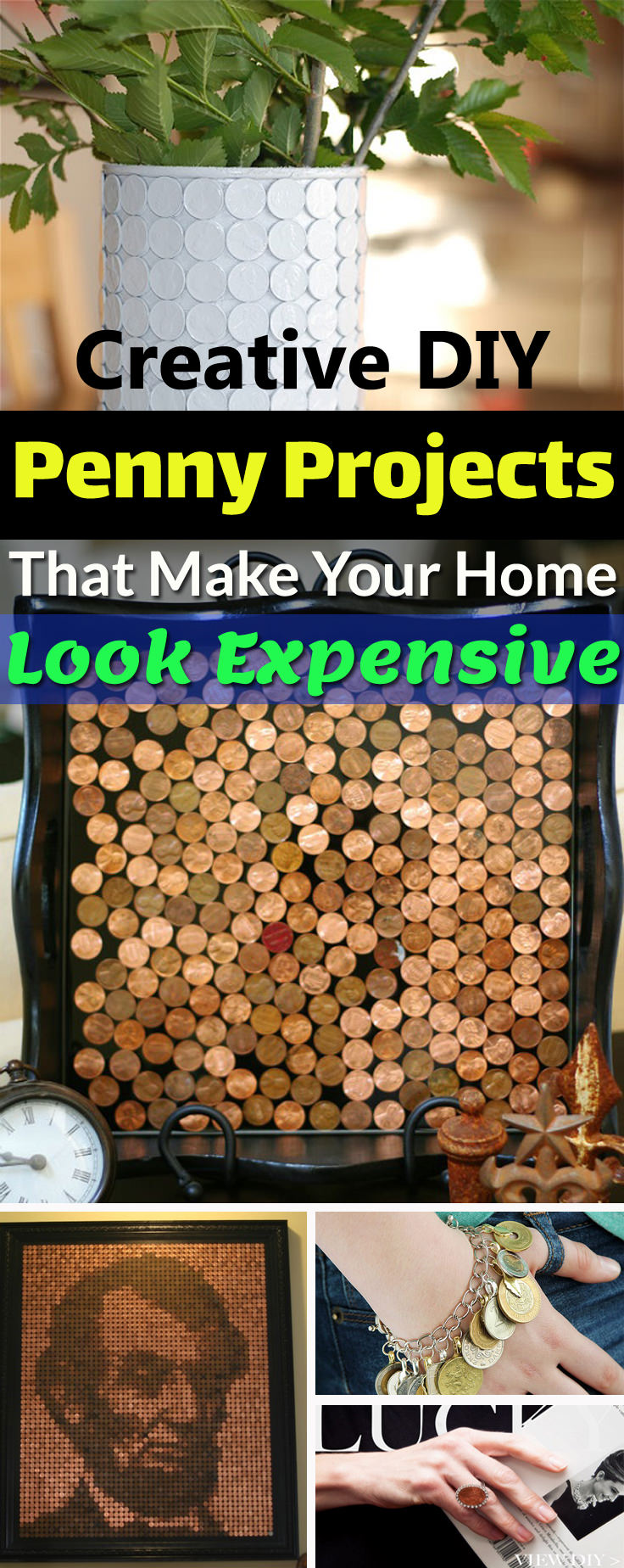 Pennies make great materials for unique and stylish DIYs that look expensive. Try these DIY Penny projects to add a coppery touch to your home.