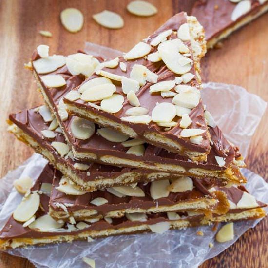 Almond Rum Saltine Cracker Toffee