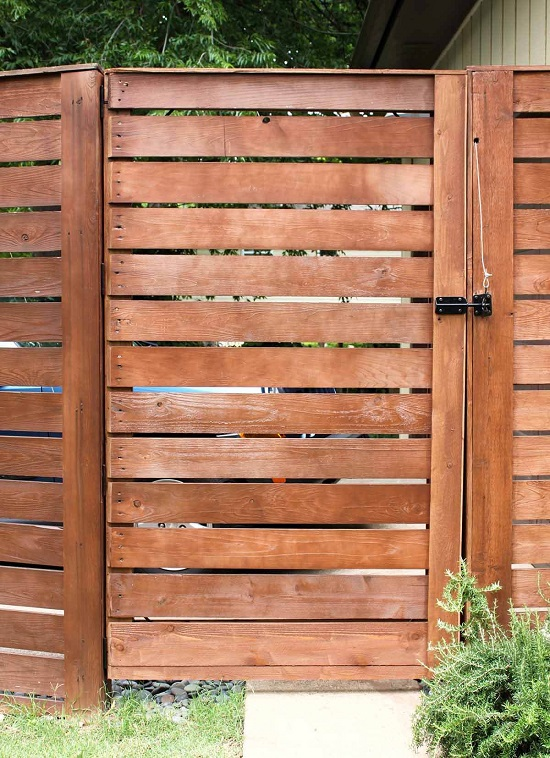 Tall Cedar Wood Plank Fence
