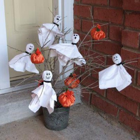 Halloween Ghosts Decorations Ghost and Pumpkin Tree