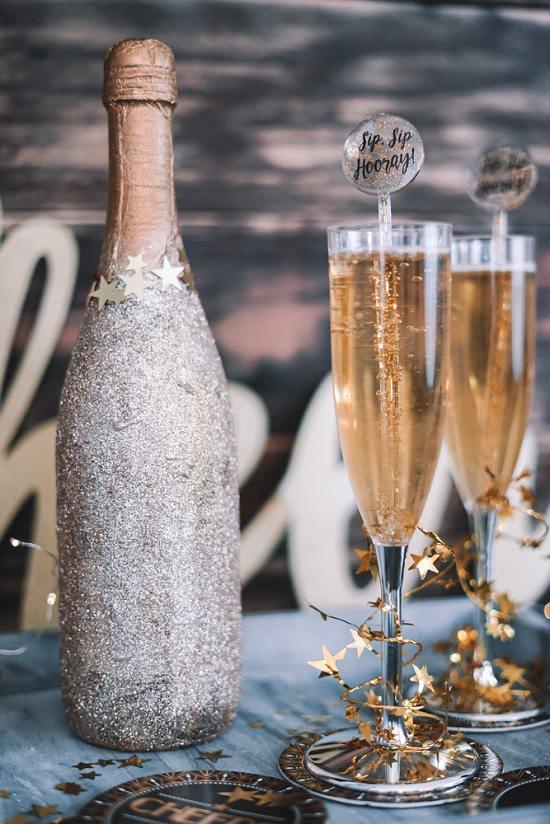 Silver Glitter Champagne Bottle