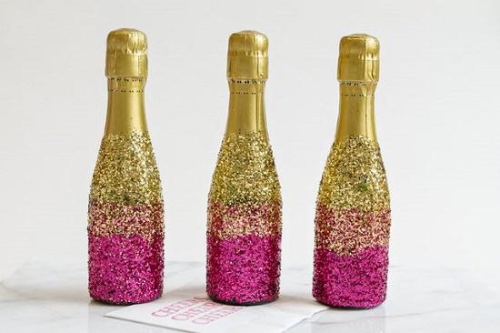 DIY Glitter Champagne Bottles 14