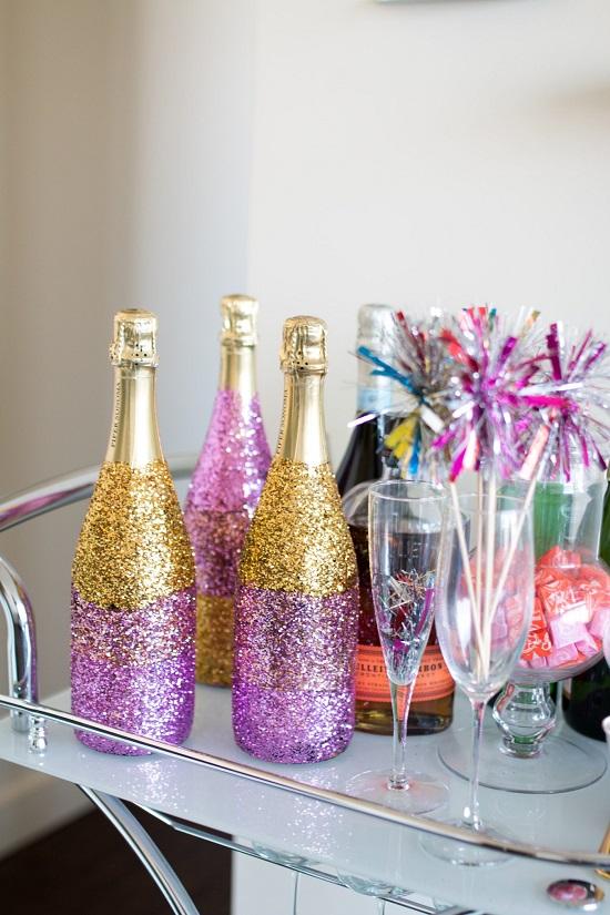 Glitter Ombré Champagne Bottle
