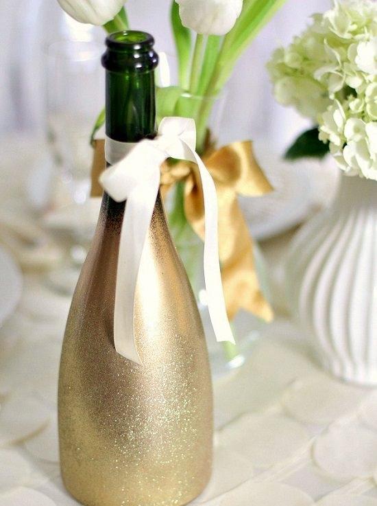 DIY Glitter Champagne Bottles 13