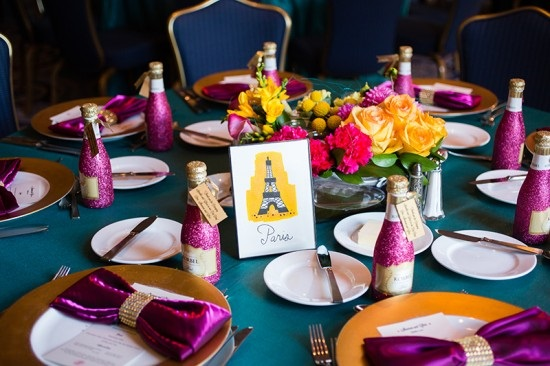 Glitter Champagne Bottle Wedding Favors