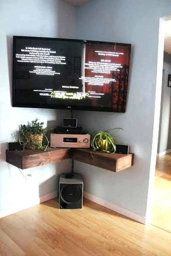 32 Diy Corner Tv Stand Ideas Diy Tv Shelf