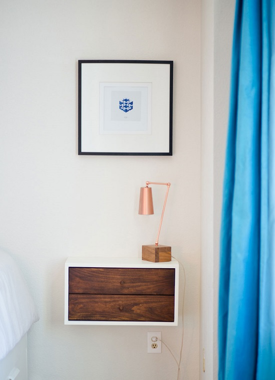Find out 25 DIY Floating Nightstand Ideas & Designs that don't take any floor space for your modern limited space home.