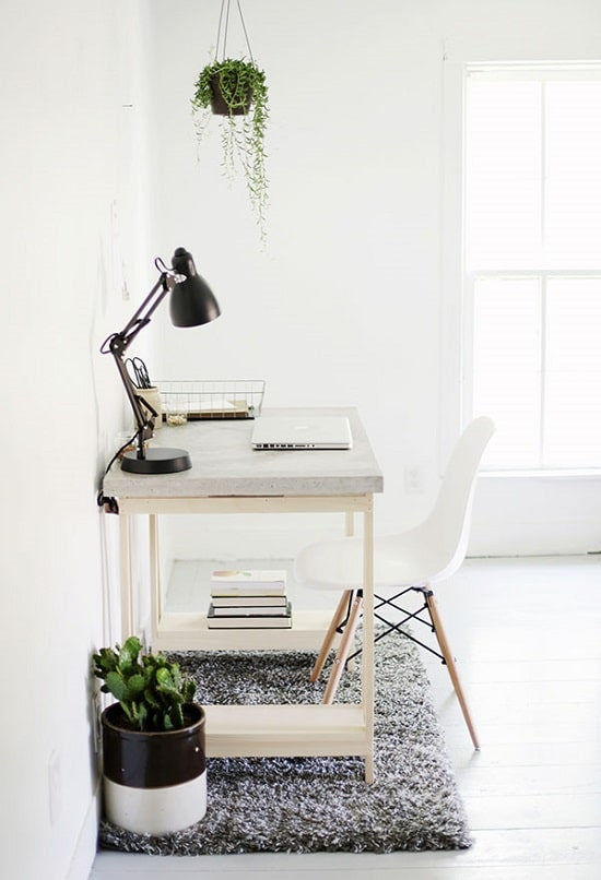 DIY Computer Desk with Concrete Countertop