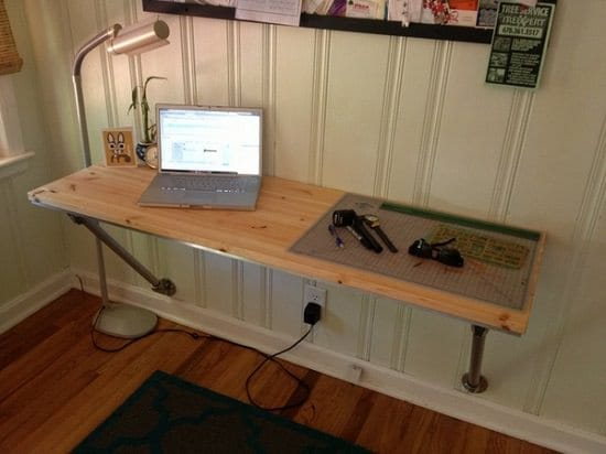 Wall Mounted Computer Desk with Angled Supports