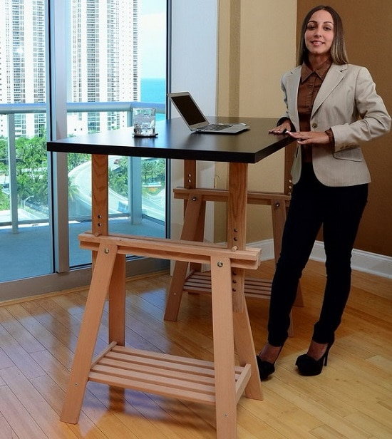 IKEA Trestle Into An Adjustable Standing Desk