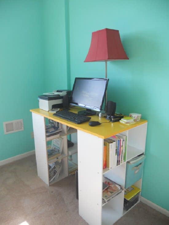 DIY Computer Desk Idea With Two Bookshelves