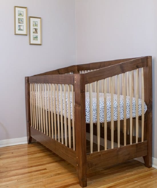 Walnut and Maple Wood Crib Frame