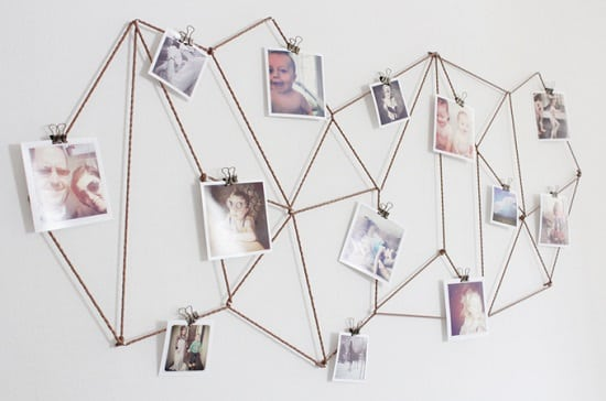 DIY Geometric String Photo Wall