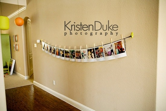Polaroid Clothesline Photo Wall