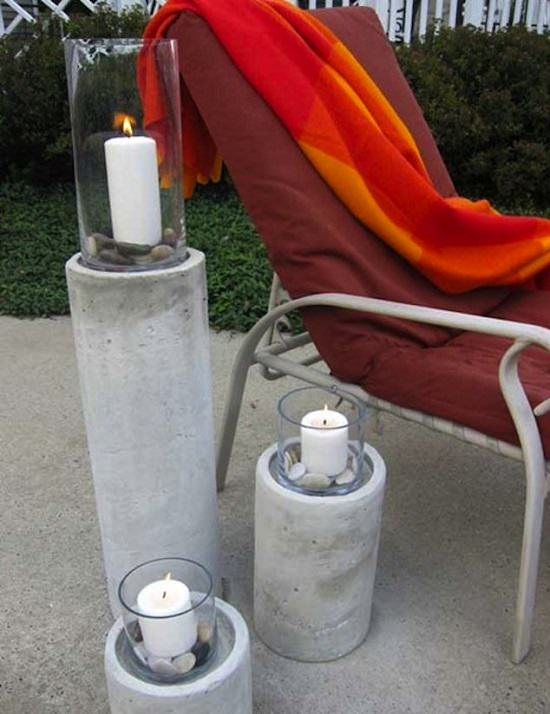 DIY Concrete Tall Candle Holders