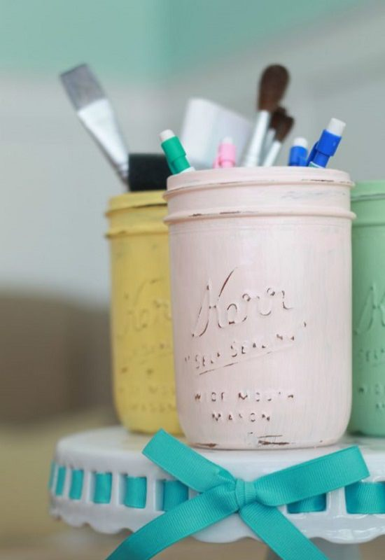 Declutter Supplies Using Mason Jar