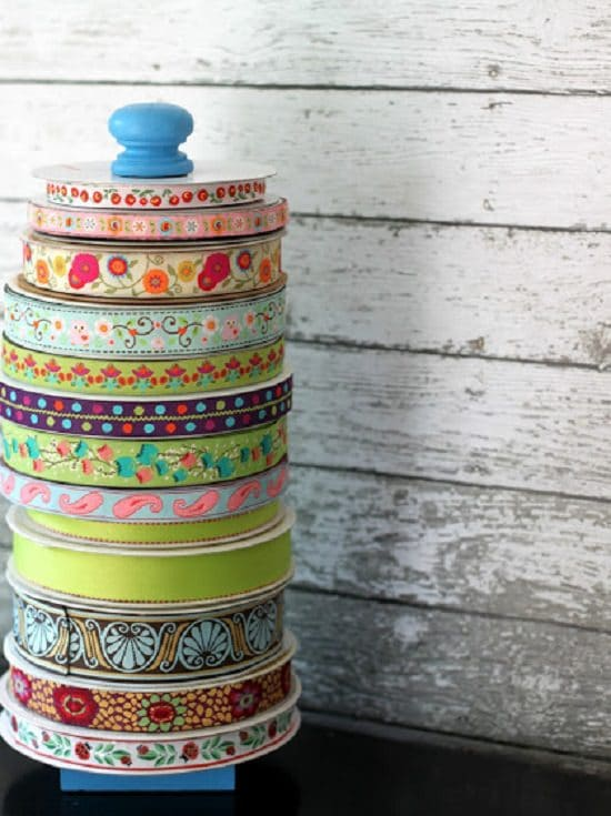 Wooden Tower Ribbon Storage