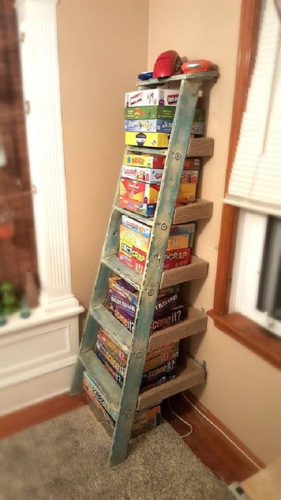 Repurposed Ladder Shelf Board Game Organizer