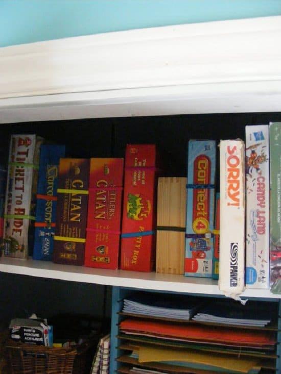 Organized Board Games on a Shelf