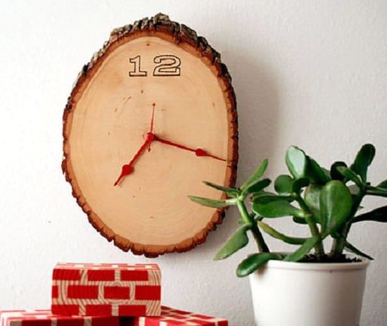 Rustic Wood Slab Clock