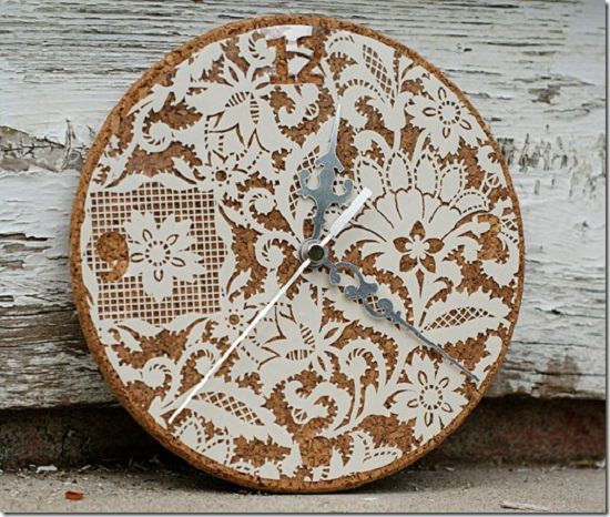 Corkboard Lace Clock