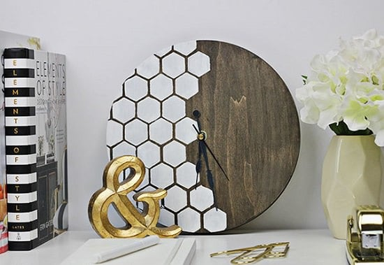 Wood Honeycomb Clock