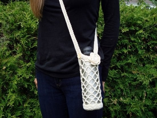 Crochet Diamond Mesh Carrier For Bottles
