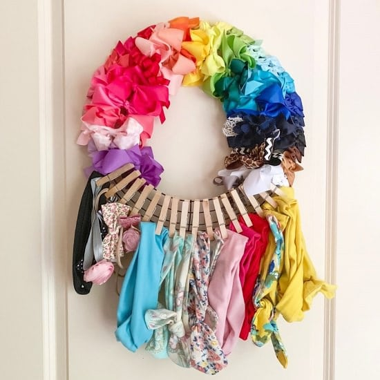 Clothespin Hair Bow Holder Wreath
