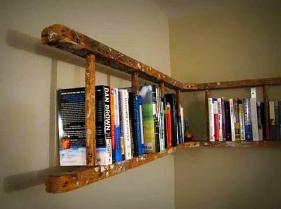 Old ladder into a shelf