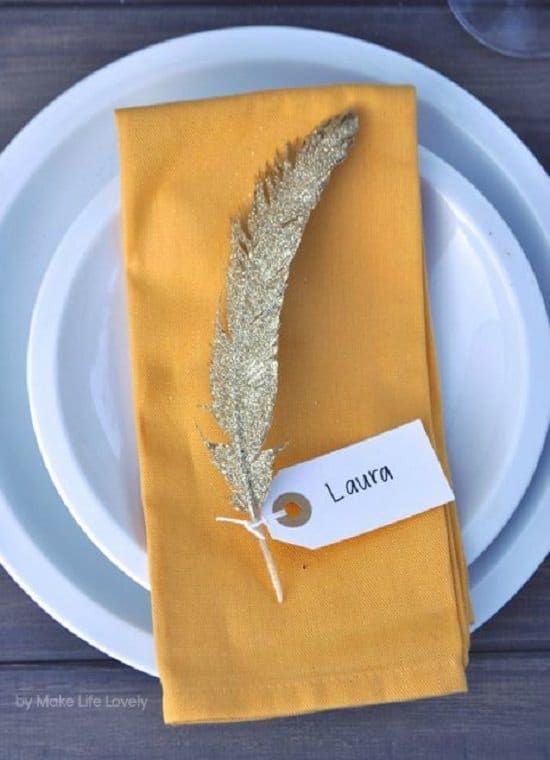 Feather Thanksgiving Namecards