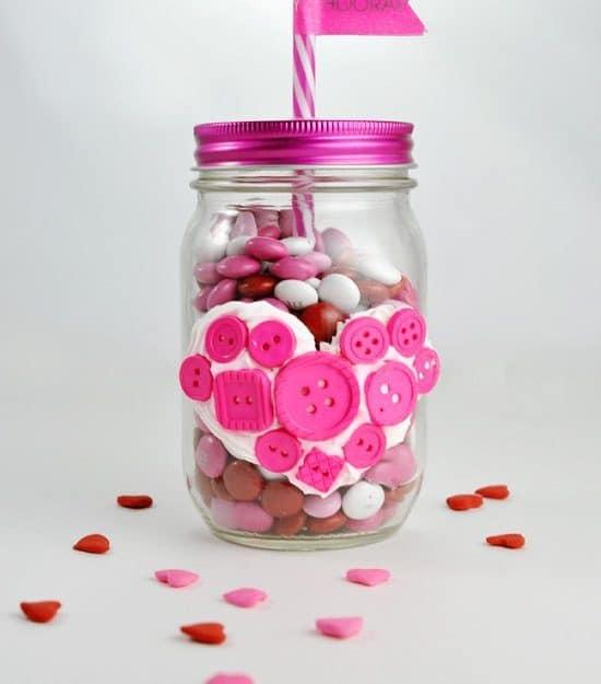 Button Heart Mason Jar