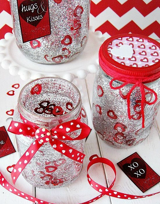 Red Valentine Jars with Glitter and Confetti