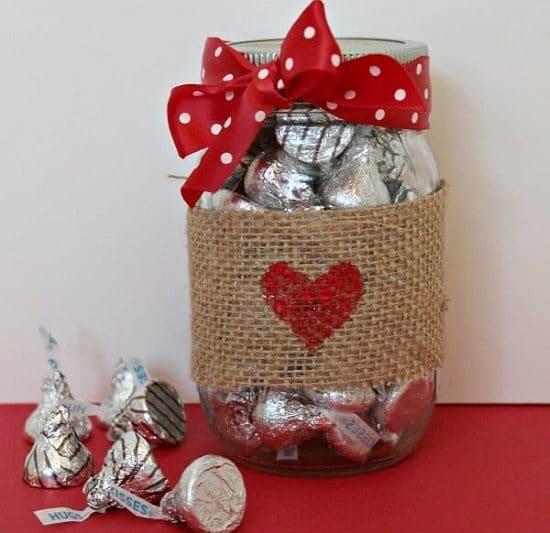 Hugs And Kisses Mason Jar Gift
